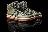 Зимние мужские кроссовки с мехом Nike Lunar Force 1 Green Camo (реплика)