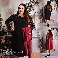 Стильный комплект платье+кардиган батал для леди большой размер Beauty 54,56,58,60
