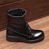 70931| Женские ботинки -демисезонные на низком каблуке. Черные из натуральной кожи