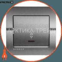 Lezard Выключатель одноклавишный проходной DERIY с подсветкой 10 А 250В темно-серый металлик 702-2929-114