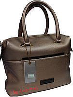Женская сумка саквояж с лаковой отделкой