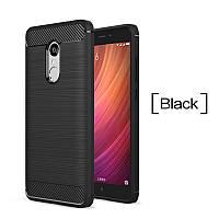 Прочный силиконовый TPU бампер Carbon для Xiaomi Redmi Note 4 (MTK, Global, 4X, 4X Pro). Черный.