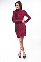 Платье велюр бордо приталенное