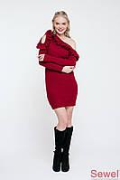 Зимнее вязаное платье с рюшей