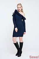 Теплое зимнее вязаное платье с рюшей
