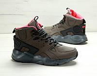 Мужские зимние кроссовки Nike Air Huarache High Brown, фото 1