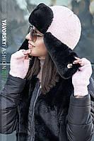 Набор ушанка+митенка шапка женская