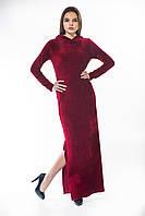 Платье велюр бордо капюшон