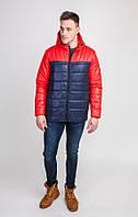 Куртка мужская осень-весна двухцветная стёганная с капюшоном