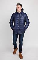 Куртка мужская осень-весна однотонная стёганная с капюшоном