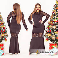 Вечернее женское платье с вставками гипюра, батал