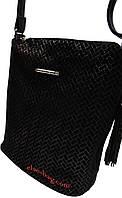 Женская сумка из натуральной кожи через плечо черная елочка
