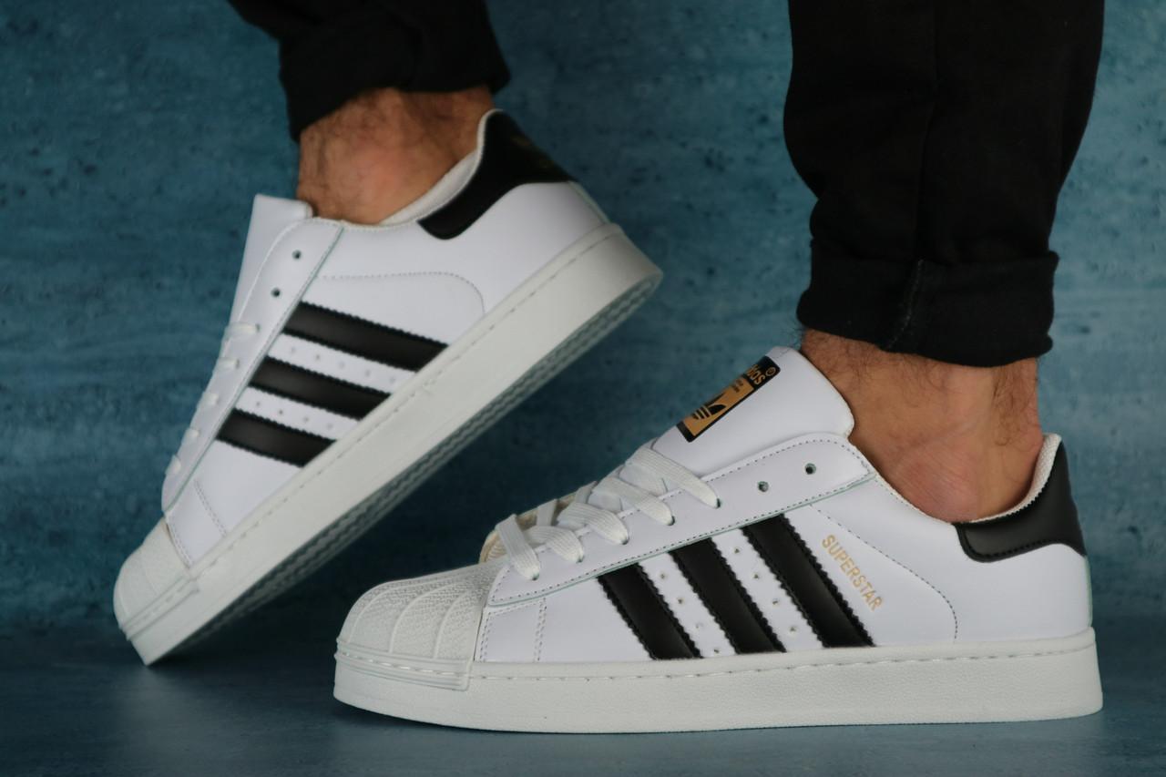 Мужские кроссовки Adidas SuperStar (белые), ТОП-реплика