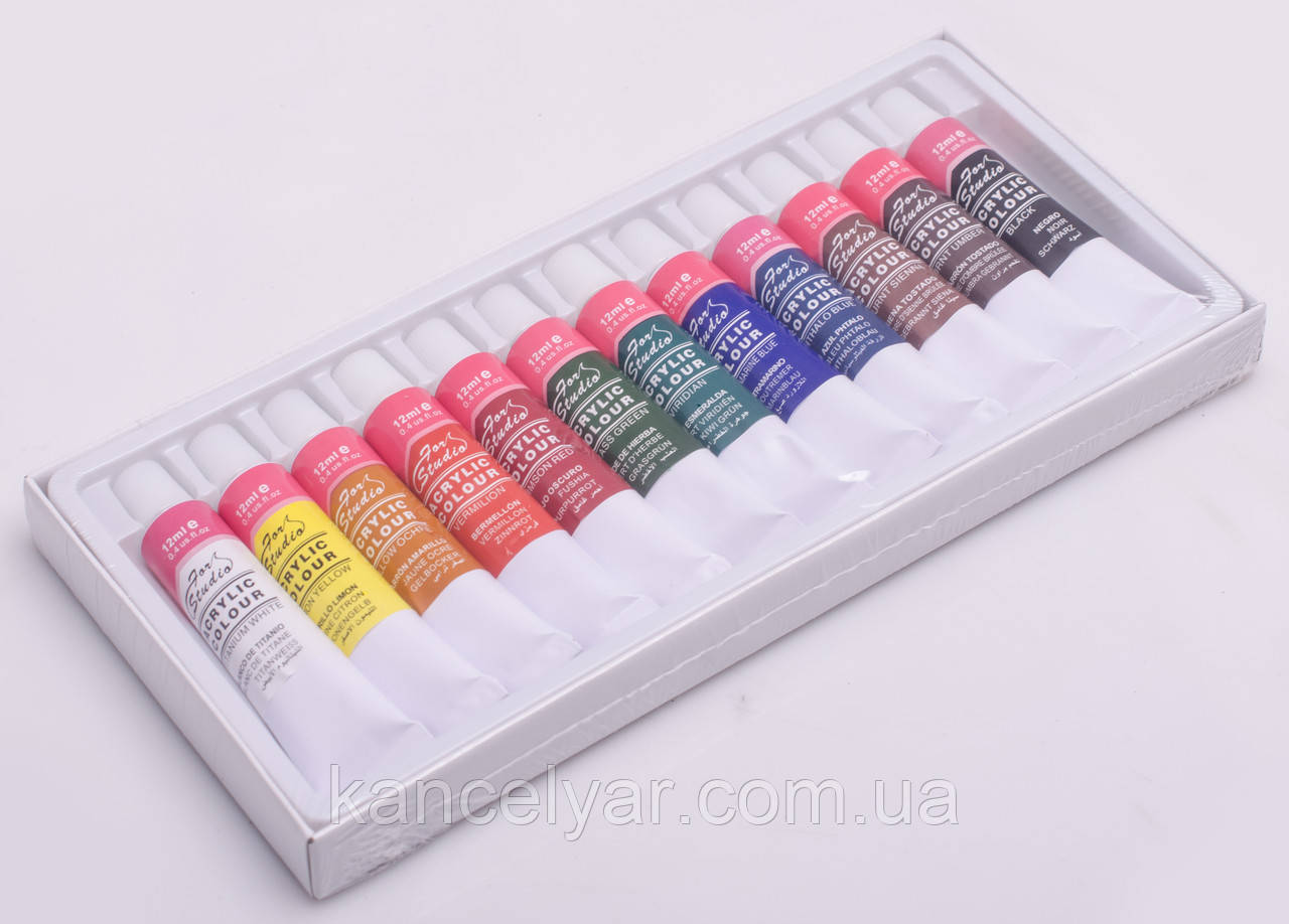 Фарби акрилові: 12 кольорів х 12 мл