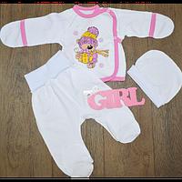 """Комплект ясельный """"Малютка"""" для новорожденного. Распашонка, ползунки, шапочка. Белый"""