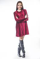Платье велюр трапеция бордо M