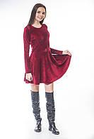 Платье велюр бордо полусолнце