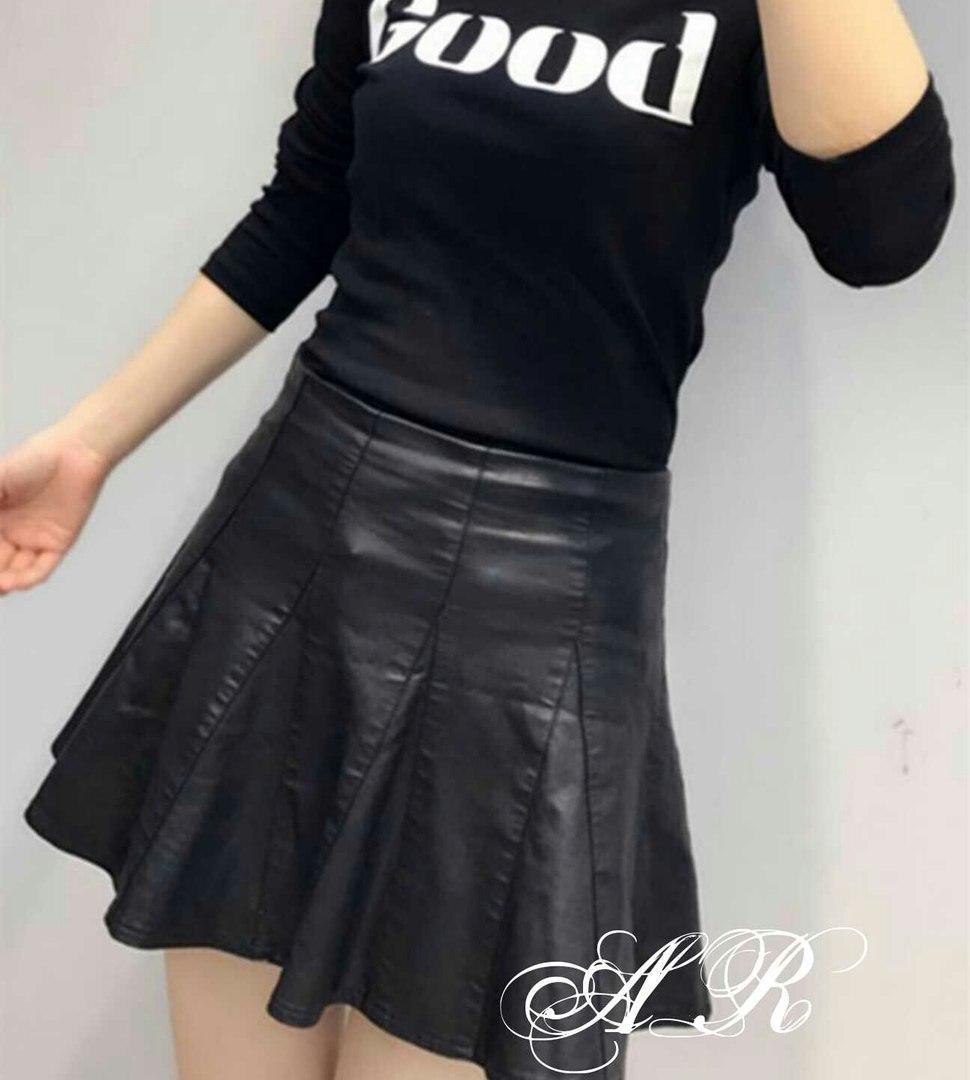 4e5f4accfd1 Модная женская кожаная юбка (эко кожа