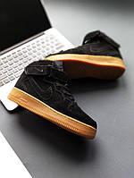 Кроссовки мужские Nike Air Force Black с мехом  41-45