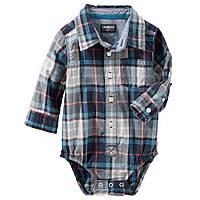 4f2b8119637 Клетчатая боди-рубашка с длинным рукавом OshKosh B gosh для мальчика