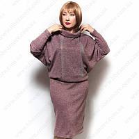 Женское платье большого размера с напуском 58-60, олива, ангора софт