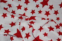 Ткань штапель красные звезды на белом
