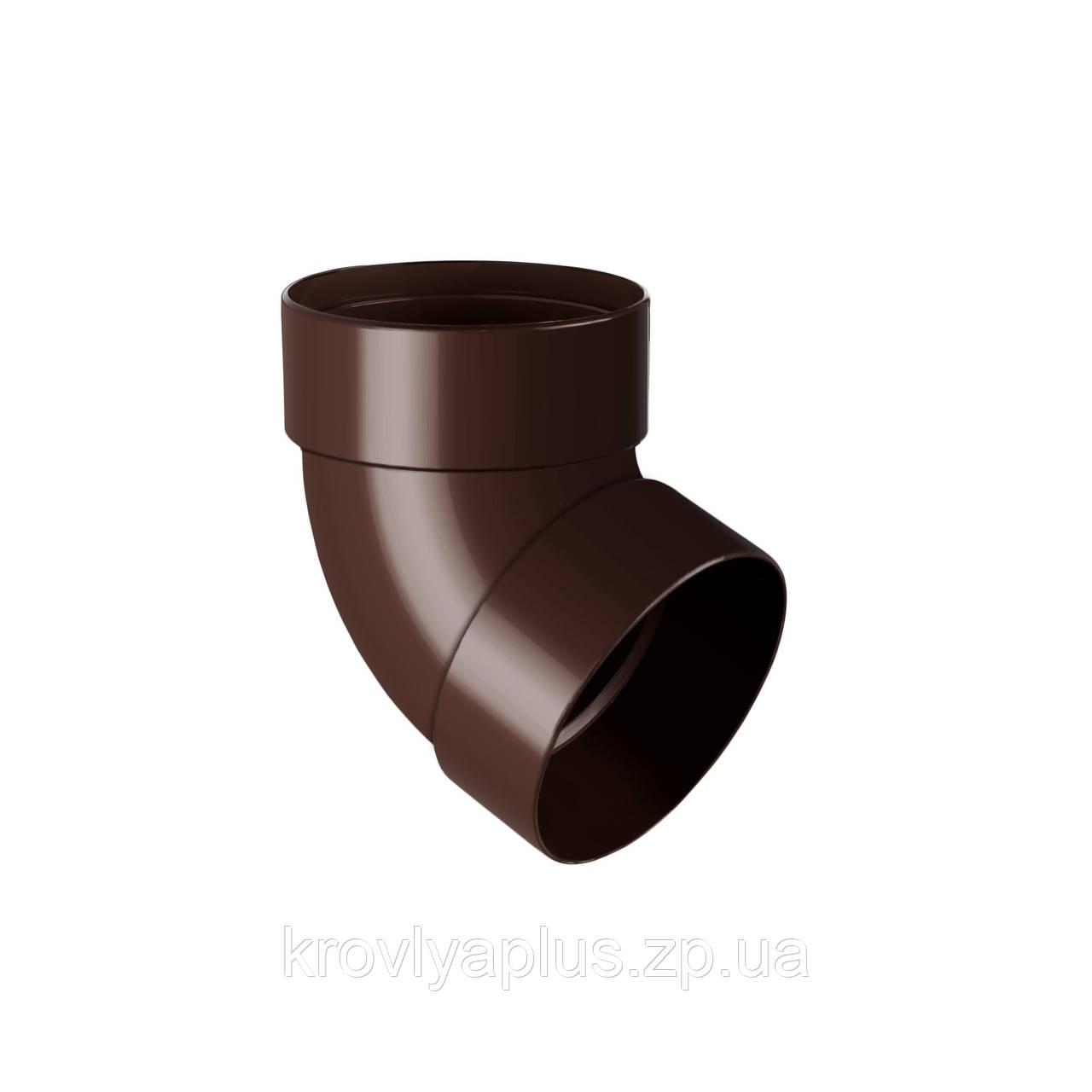 Колено трубы, отвод двомуфтовый 67° Ø100 (Rainway, Украина), коричневый.