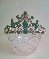 Корона под золото с зелеными камнями, диадема, тиара, высота 5 см.