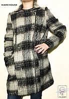 Женское теплое пальто черно-белое Warehouse шерстяное р. S