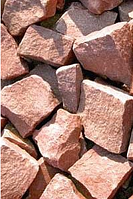 Кварцит малиновый, колотый. Камень для бани и сауны.