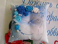 Свадебная подушка под кольца (сине-голубая)