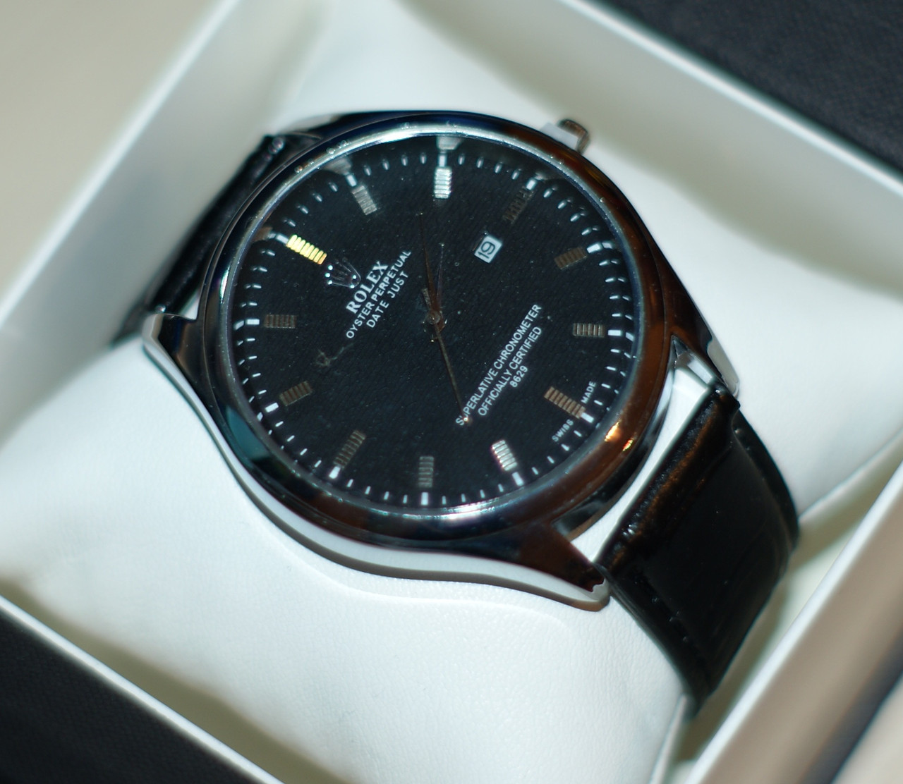 f7b0f738b6f3 Мужские наручные часы Rolex ( Ролекс ) серебристые с черным циферблатом