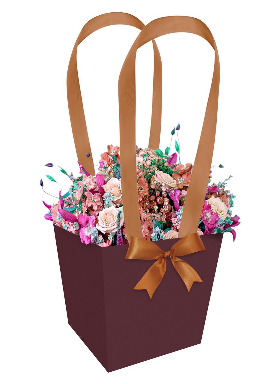 Бумажная сумка-трапеция для букетов и горшечных цветов коричневая