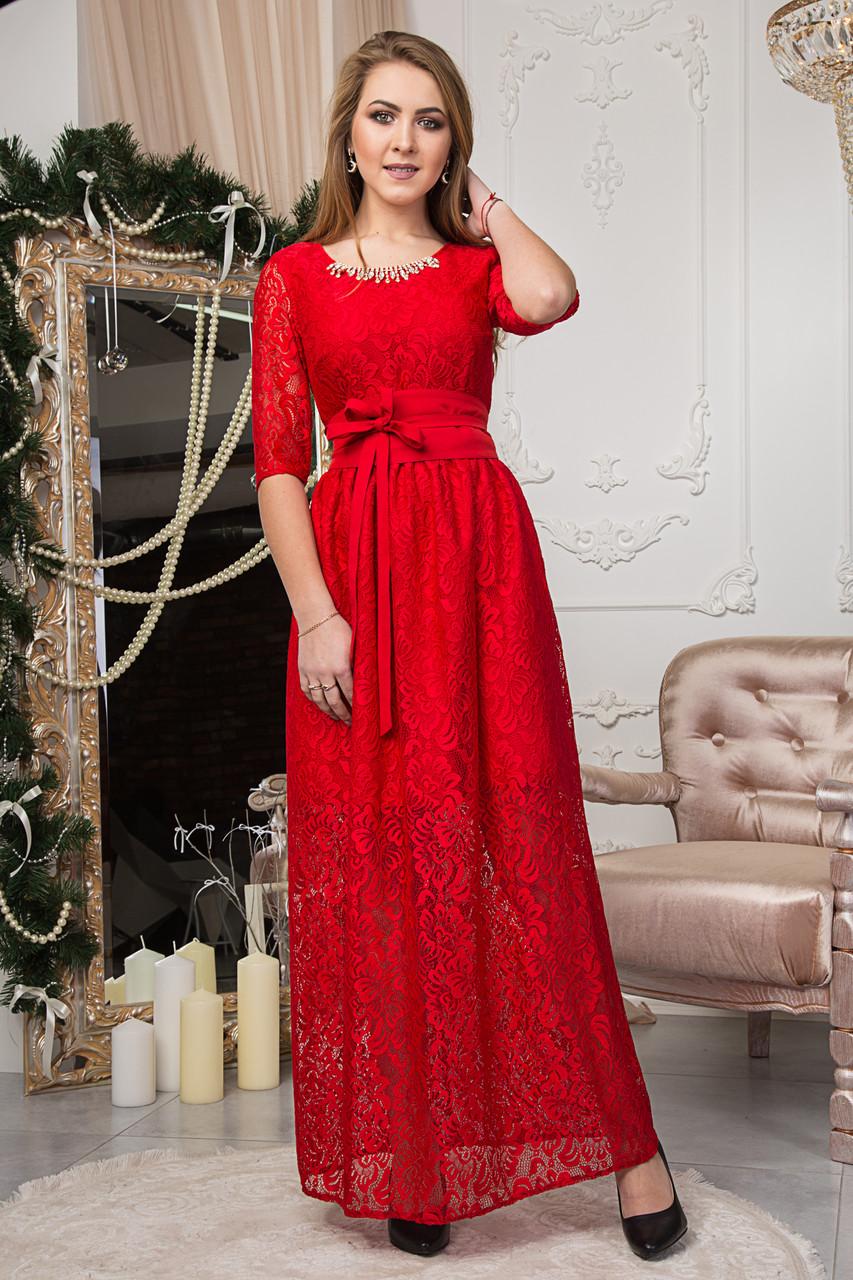 38608bc9979 Нарядное женское гипюровое длинное платье красного цвета 125-2 -  Интернет-магазин одежды