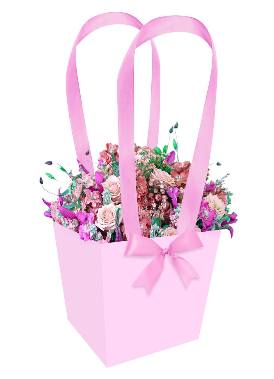 Бумажная сумка-трапеция для букетов и горшечных цветов розовая