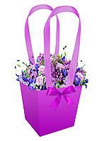 Бумажная сумка для букетов и горшечных цветов фиолетовая
