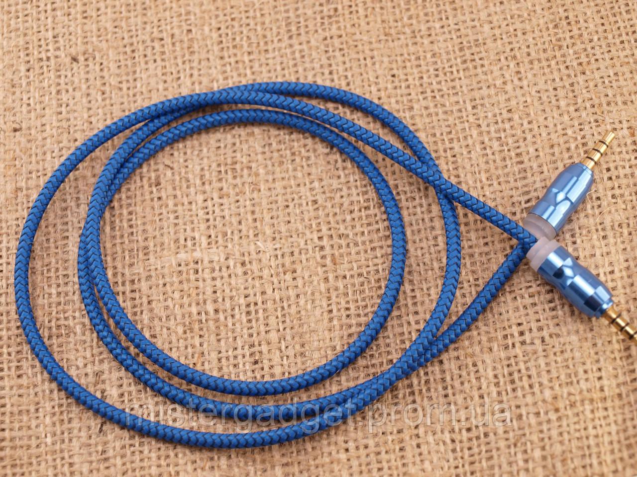 Aux Кабель для лінійного входу Тканинний F3 Синій