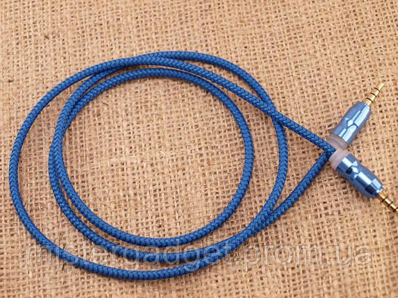 Aux Кабель для лінійного входу Тканинний F3 Синій, фото 2