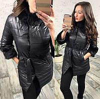 Женская куртка с рукавом 3/4 и меховой окантовкой и меховым воротником Батал
