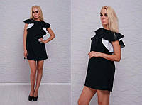 Платье-валан черно-белое