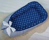 """Кокон для новорожденного, позиционер, кроватка для мальчика """"Моря сновидений"""""""
