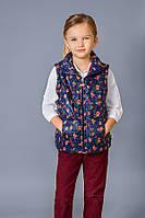 Демисезонная куртка-жилет для девочки 5-8 лет 110-128 темно-синий+розочки