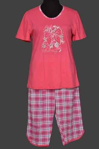 Футболка и бриджи розовая женская пижама домашняя в клеточку хлопковая Украина