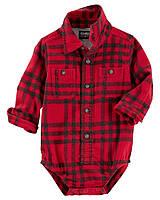 Детская фланелевая боди рубашка в клетку красного цвета с длинным рукавом ОшКош для мальчика