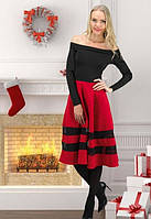 Женское нарядное платье черно красное 42,44,46,48