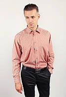 Рубашка в полоску с длинным рукавом Fra №869-11 (Кирпичный)