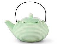 Заварочный чайник Fissman 750мл с ситечком и металлической ручкой, цвет СВЕТЛО-ЗЕЛЕНЫЙ (керамика)