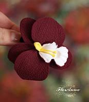 """Заколка цветок """"Бордовая орхидея"""" из полимерной глины, фото 1"""