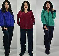 Женская махровая пижама-костюм большого размера