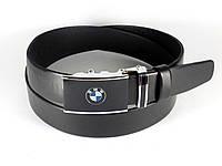 Ремень мужской кожаный BMW 3,5 см с пряжкой автомат (БМВ), мужской ремень из натуральной кожи (реплика)
